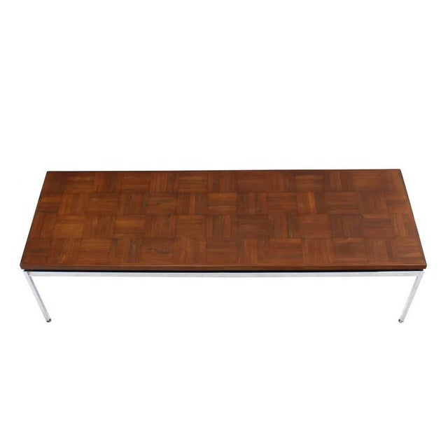Solid Stainless Steel Heavy Base Rectangular Coffee Table with Parquet Top For Sale - Image 4 of 7