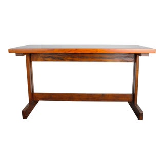 1970's Vintage French Pine Bistro Trestle Dining Table For Sale