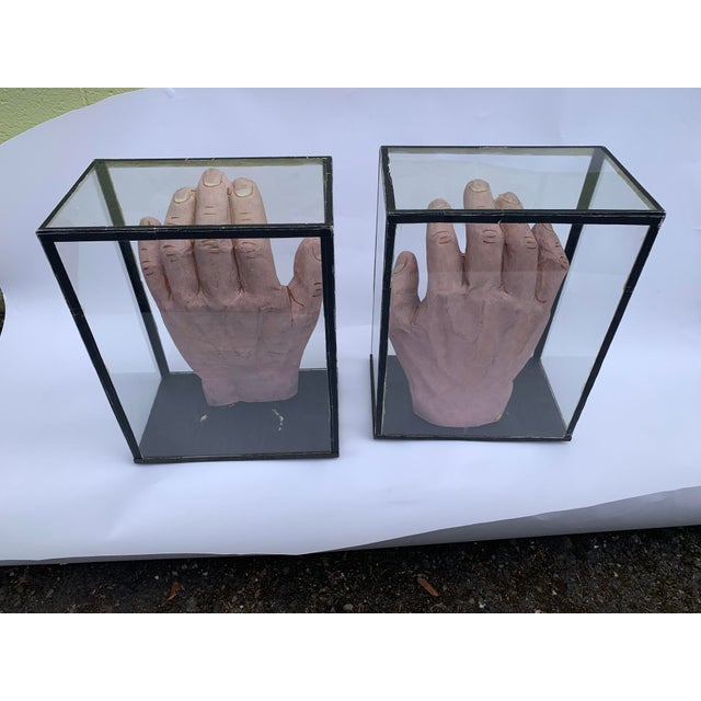 Glass 1950s Vintage Educational Model Hands in Glass Display Cabinets - a Pair For Sale - Image 7 of 7