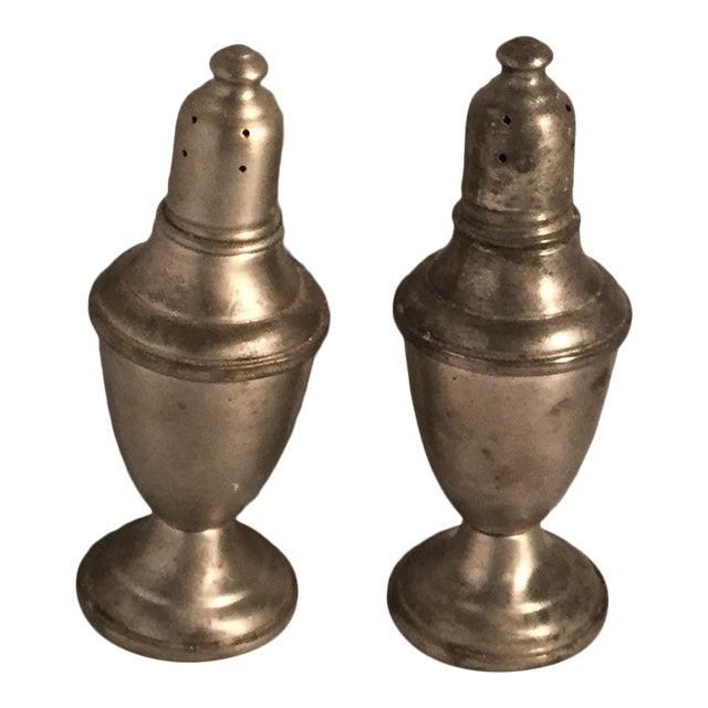 Pewter Salt & Pepper Shakers - A Pair For Sale