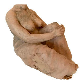 Vintage Nude Woman Clay Sculpture For Sale