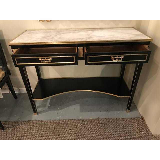 Jansen Style 2-Drawer Bronze-Mounted Marble-Top Console Tables - A Pair For Sale - Image 4 of 10