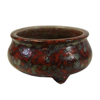 Chinese Handmade Ox Blood Red Marks Ceramic Incense Holder Urn For Sale