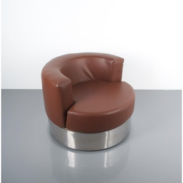 Franco Fraschini Brown Leather Chair for Driade, Italy, 1965 For Sale - Image 6 of 11