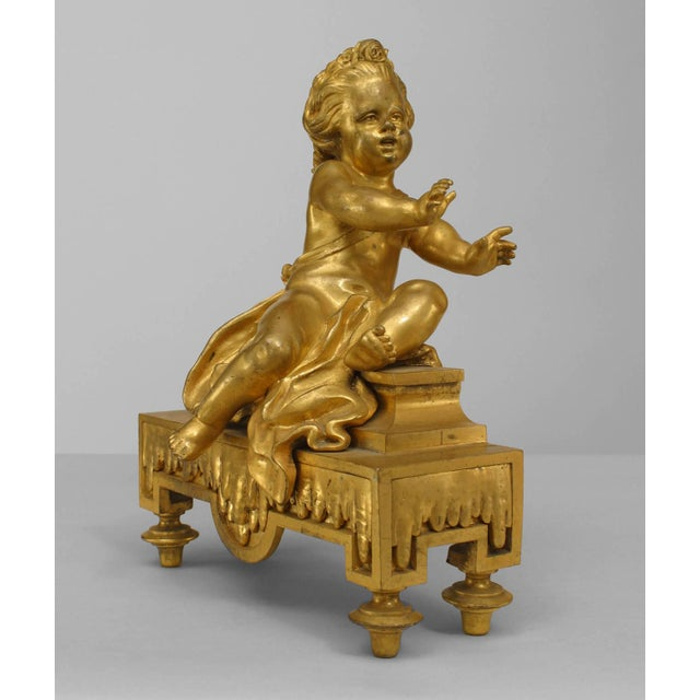 19th Century Pair of 19th Century French Gilt Bronze Putti Andirons For Sale - Image 5 of 6