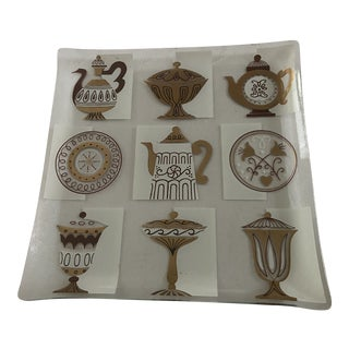 20th Mid-Century Georges Briard Style Gold Tray Dish For Sale