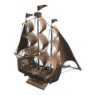 Mid-Century Metalwork Galleon Sculpture