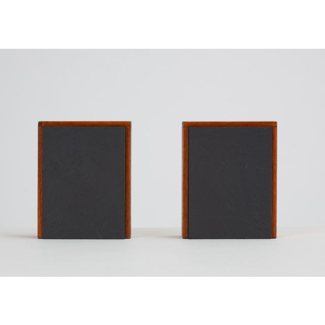 1960s Pair of Scandinavian Modern Slate and Teak Bookends For Sale - Image 5 of 11