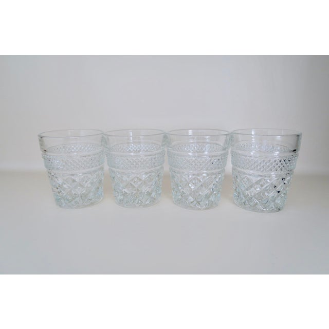 Boho Chic Vintage Anchor Hocking Wexford Clear Glass Crystal Small Lowball Drinking Glasses Set of 4 For Sale - Image 3 of 4