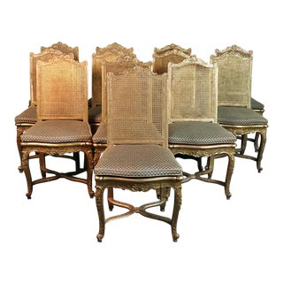 French Gilded Louis XV Style Dining Room Chairs - Set of 10 For Sale