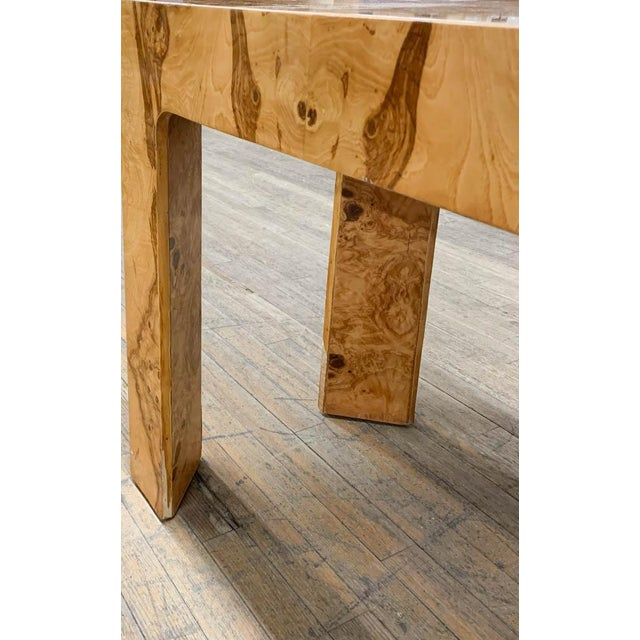 Wood Mid Century Burl Wood Baughman Parsons Console Table For Sale - Image 7 of 9