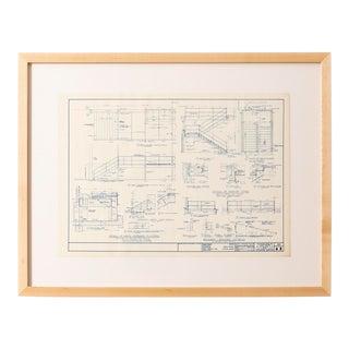 Mies Van Der Rohe Blueprint, Crown Hall, Chicago, 1954, North Platform For Sale