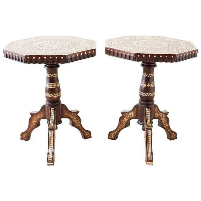 Pair of Middle Eastern Moorish Inlaid Drink Tables For Sale - Image 13 of 13