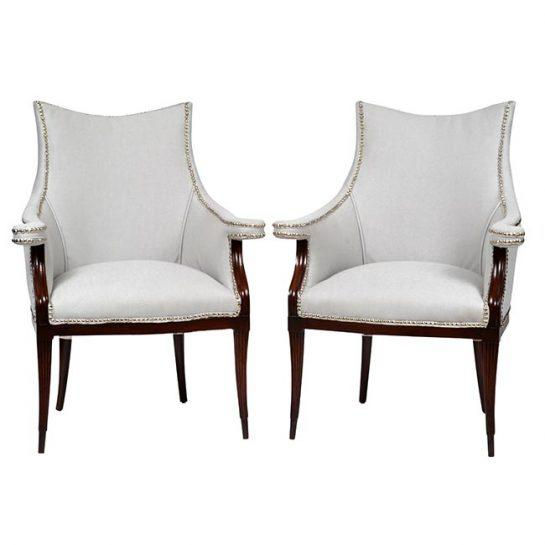 Vintage Art Deco Club Armchairs- a Pair For Sale - Image 4 of 11