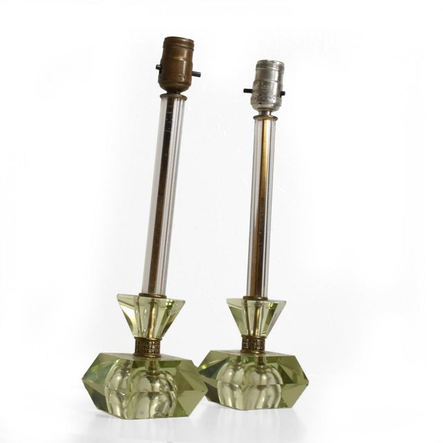 Hollywood Regency Era Crystal Table Lamps With Light Green Color Set of 2 For Sale - Image 11 of 11