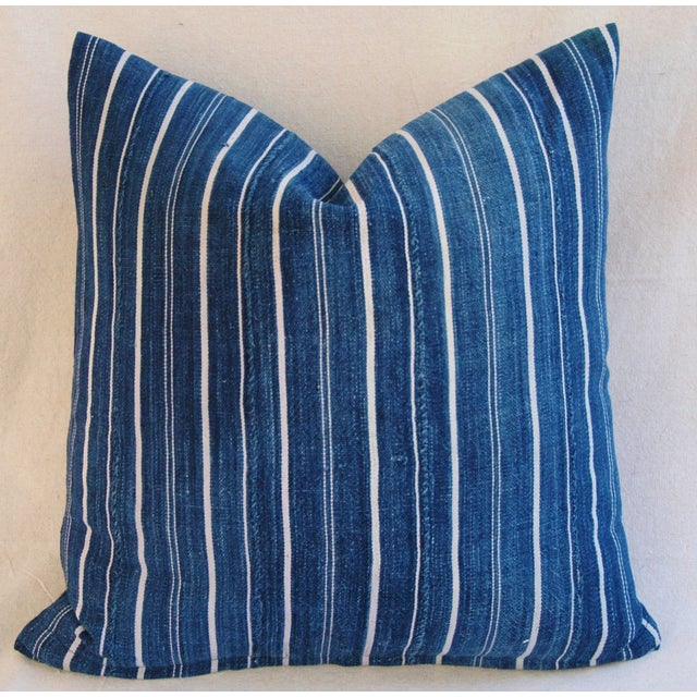 Woven Indigo Blue Stripe Batik Down Feather Pillow - Image 3 of 6
