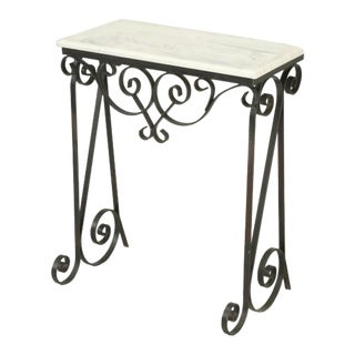 Vintage Metal Marble Console or Side Table For Sale