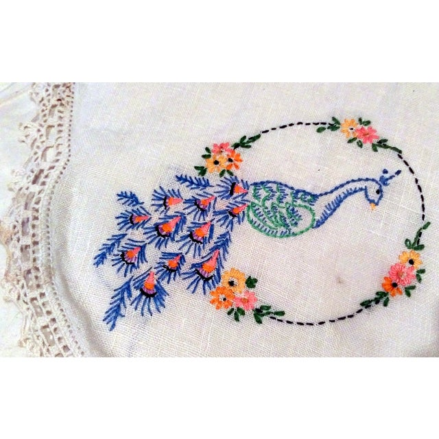 Vintage Peacock Embroidered Ecru Doilies - S/3 - Image 5 of 8