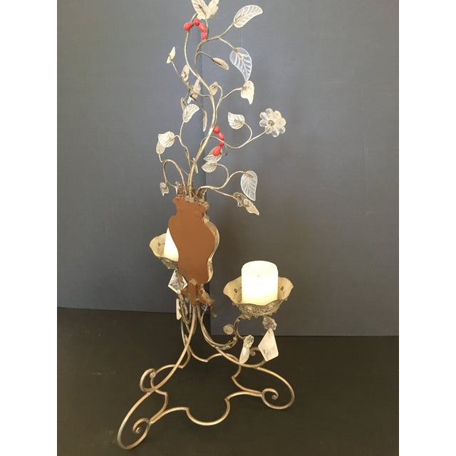Pair of Metal, Glass and Rock Crystal 2-Light Candelabra.by Bagues For Sale In New York - Image 6 of 8