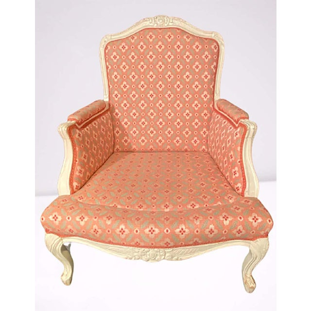 Louis XVI Painted Bergère or Lounge Chairs, Scalamandre Upholstery - a Pair For Sale - Image 11 of 13