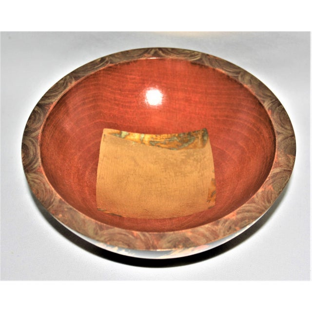 FANTASTIC Vintage and One of a Kind! Mixed Media on a Hand-Carved Maplewood Bowl by Famed Nantucket Artist - Laurie...