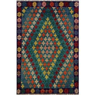 Modern Balouchi Alisa Blue & Purple Wool Rug- 4'11 X 6'6 For Sale
