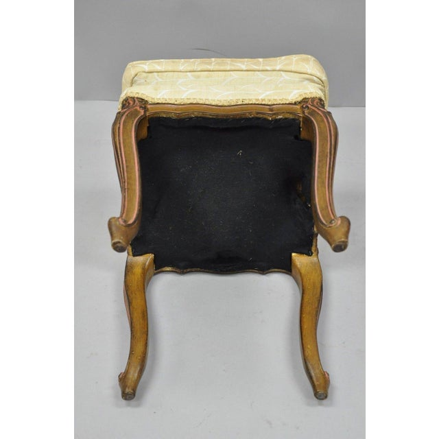 Yellow Vintage French Provincial Louis XV Style Upholstered Stool Bench For Sale - Image 8 of 10