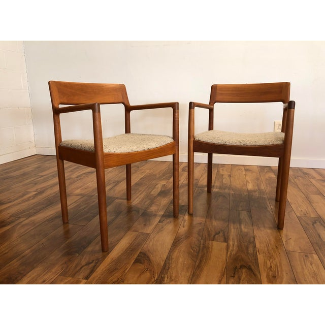 Danish Modern Mid-Century Norgaard Teak Arm Chairs, Made in Denmark, a Pair For Sale - Image 3 of 13