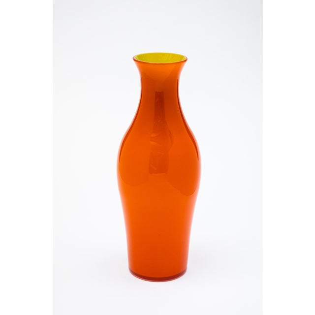Contemporary Fortuny by Moretti Madrazo Tall Vase in Orange For Sale - Image 3 of 3