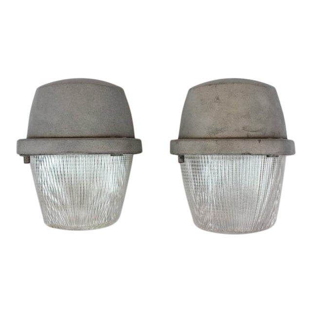 1930's Vintage Industrial Holophane Wall Sconces- A Pair For Sale
