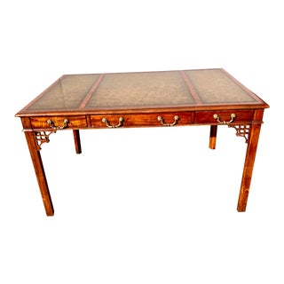 Chinese Chippendale Style English Tooled Leather Writing Desk For Sale