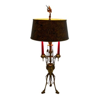 Antique Continental Neoclassical Brass Candlestick Table Lamp For Sale