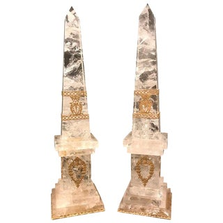 Pair of Neoclassical Rock Crystal Ormolu Mounted Obelisks For Sale