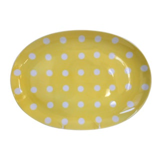 1980s Fitz and Floyd Yellow With White Polka Dots Porcelain Oval Serving Platter For Sale