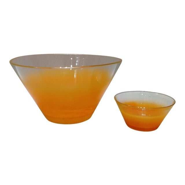 Mid-Century Orange Ombré Glass Serving Bowls - Pair - Image 1 of 8