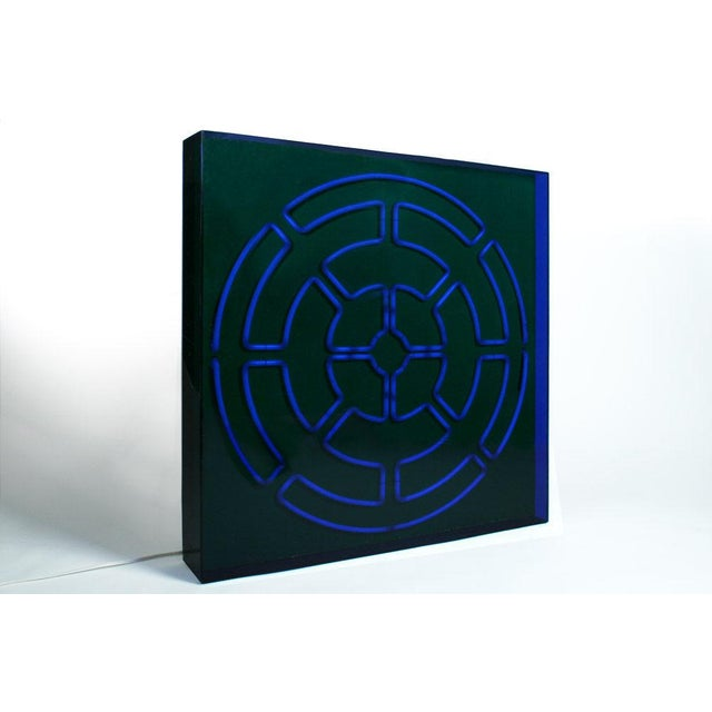 """Mid-Century Modern """"Blue Radiance"""" Mandala Neon Sculpture by Christopher Sproat For Sale - Image 3 of 6"""