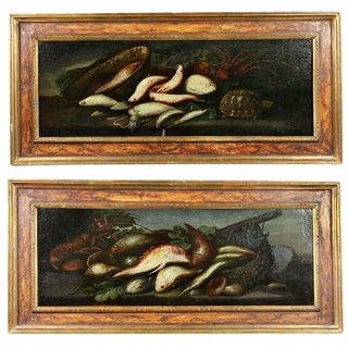 Italian Still Life Fish Paintings - a Pair For Sale