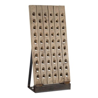 Mid 20th Century Vintage French Champagne Riddling Wine Rack Custom Mounted on an Iron Base For Sale