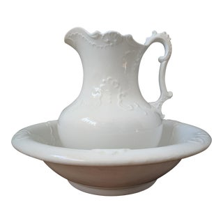 1900s Traditional Crown Potteries Co. Large White Porcelain Pitcher and Wash Basin - 2 Piece Set