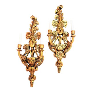 Hollywood Regency Gilded Carved Wood Electrified Candle Sconces - a Pair For Sale