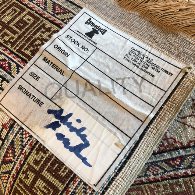 Silk on Silk Small Turkish Kayseri Handmade Rug For Sale - Image 9 of 13