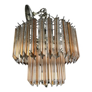 Vintage Mid-Century Murano Glass Chandelier Amber For Sale