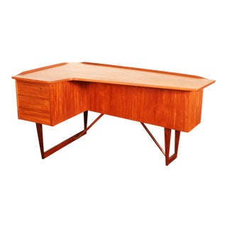 1960s Danish Modern Peter Løvig Nielsen Teak Boomerang Writing Desk For Sale