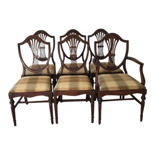 1940s Mahogany Duncan Phyfe Shield Back Chairs - Set of 6 For Sale