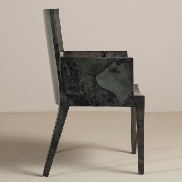 Animal Skin A Set of Eight Grey Lacquered Goatskin Chairs 1980s, Pair Carvers, Six Side Chairs For Sale - Image 7 of 9
