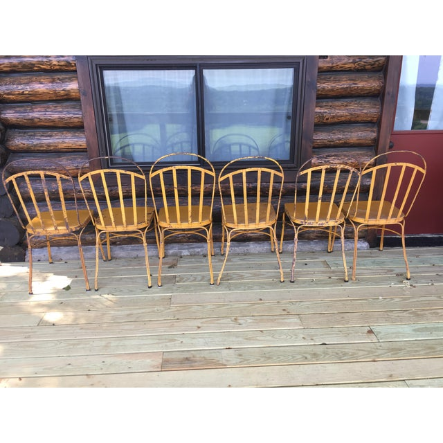Vintage Mid Century Yellow Industrial Metal Dining Chairs-Set of 6 For Sale In New York - Image 6 of 13