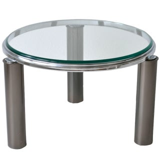 Postmodern Gunmetal and Chrome Side Table For Sale