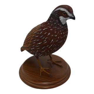Vintage 1990s Life Size Bob White Quail Bird Carving For Sale