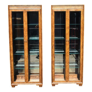 Henredon Solid Oak Curio Cabinets - a Pair For Sale