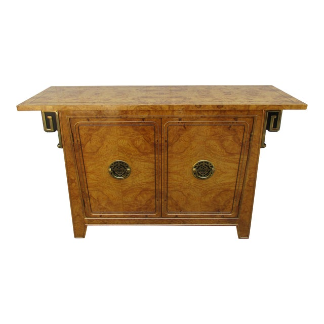 Burlwood and Brass Console Cabinet -Attributed to Mastercraft For Sale